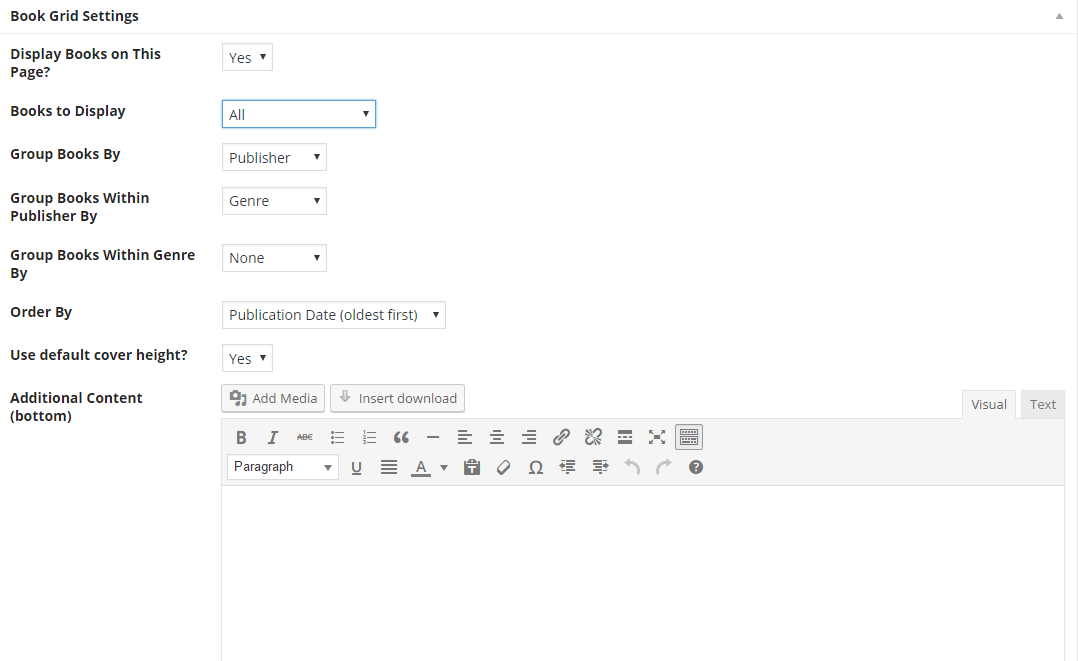 screen shot of book grid options