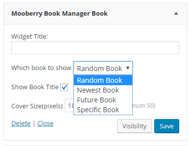 Screenshot showing widget options for Random, Newest, Future, or Specific Book