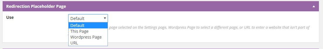 Screenshot of setting to override default placeholder page. Choose from Default, Book Page, Wordpress Page, or URL.