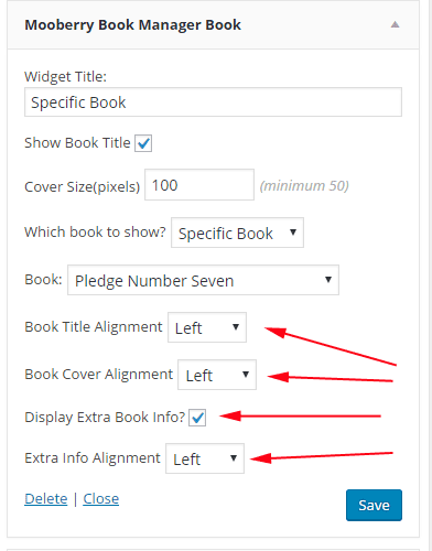 screenshot of new widget options for title, cover, and additional info alignment