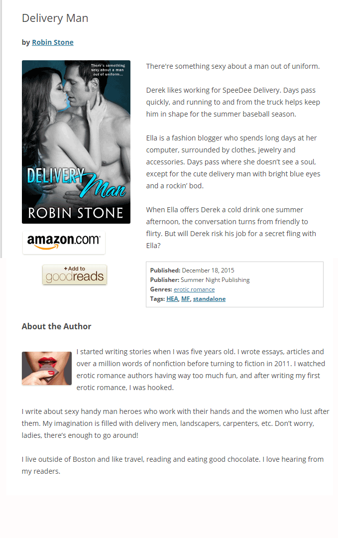 screenshot of book page with author name and about the author section added.