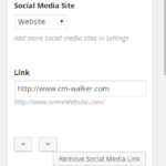 screenshot of author options to add multiple social media links. Choose the site name and enter the link.