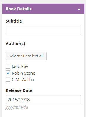 screenshot of book options for setting the author.