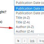 screenshot of book grid sorting options. Author option added.