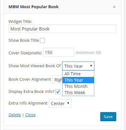 screenshot of Most Popular Book widget. Options for All time, this year, this month, and this week.