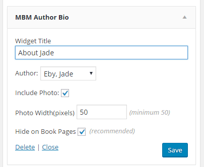 screenshot of Author Bio Widget options: Title, Author to display, Whether to include photo, Photo width, and whether to show on book pages